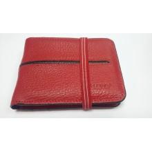 Кредитница визитница бумажник красный из натуральной кожи унисекс 816